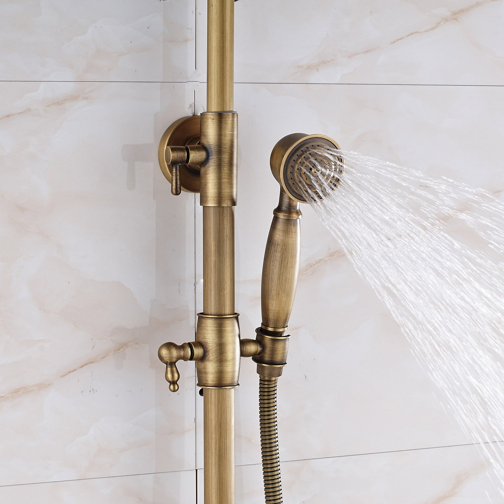 Rozin Bathroom 2 Knobs Mixer Rainfall Shower Faucet Units with Hand Spray Antique Brass by Rozin (Image #8)