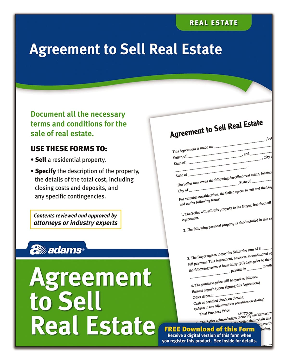 Amazon.com : Adams Agreement To Sell Real Estate, Forms and ...
