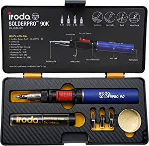 Iroda Solderpro Pro 90K, Cordless Soldering Iron Kit, 4-in-1 Heat Shrink, Hot Knife, Butane Soldering Iron Torch, Perfect For Hobbyists, 25 Second Heat Up, 100 Mins Run Time Butane Not Included