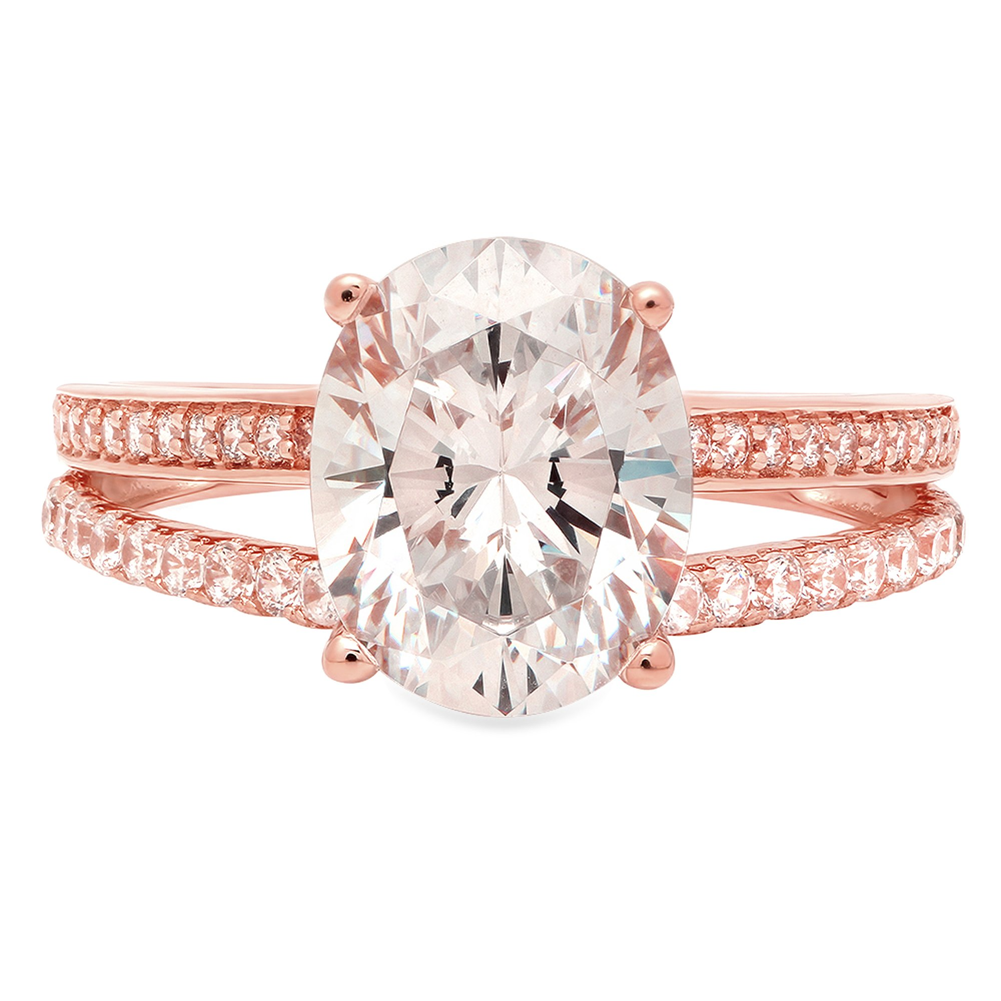 14k Solid Rose Gold 1.9ct Brilliant Oval Cut Engagement Wedding Promise Anniversary Ring Bridal Jewelry for Women, 8