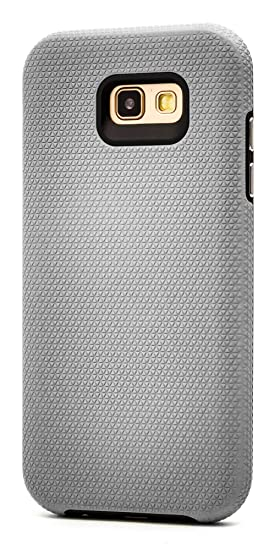 Galaxy A7 2017 Case, Maxessory Silver Majestic Full-Body Impact Cover w/Premium Tough Texture Grip Hard-Back Rubber Cushion Hybrid Armor Shell ...