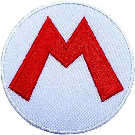 Mario M parche bordado hierro en placa de disfraz Cosplay Mario ...
