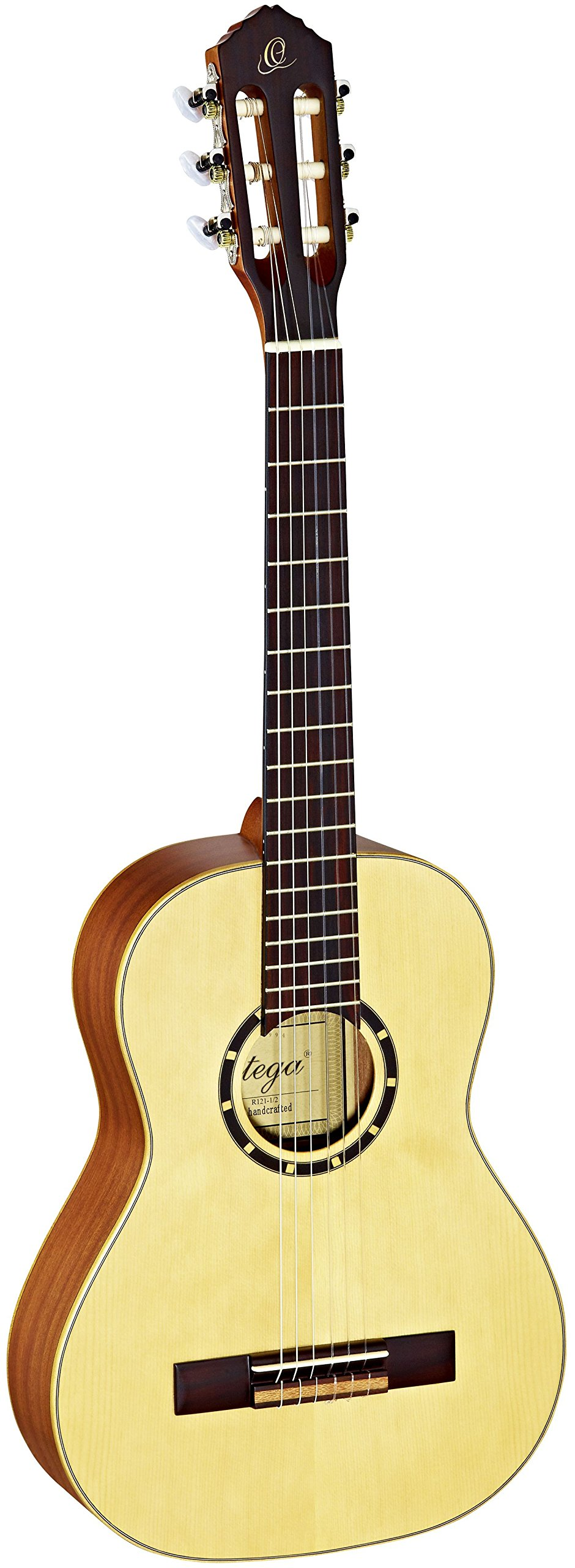 Ortega Guitars R121-1/2 Family Series 1/2 Body Size Nylon 6-String Guitar with Spruce Top and Mahogany Body, Satin Finish