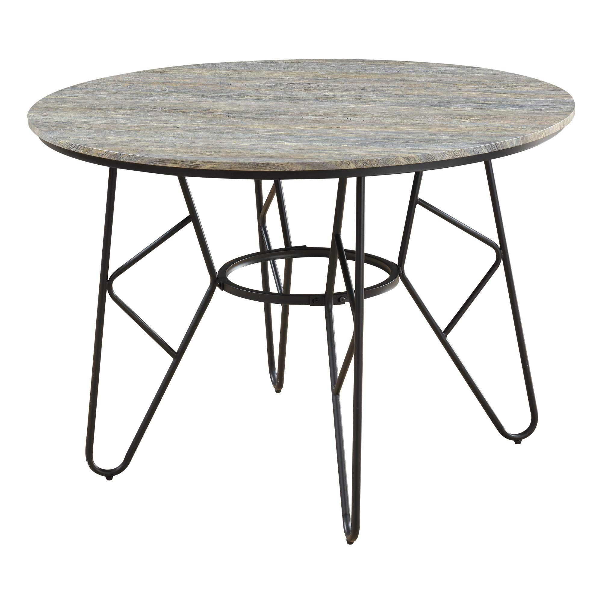 Jurcek 42'' Round Dining Table in Gray Brindle with Round Tabletop And Metal Base, by Artum Hill by Artum Hill (Image #1)