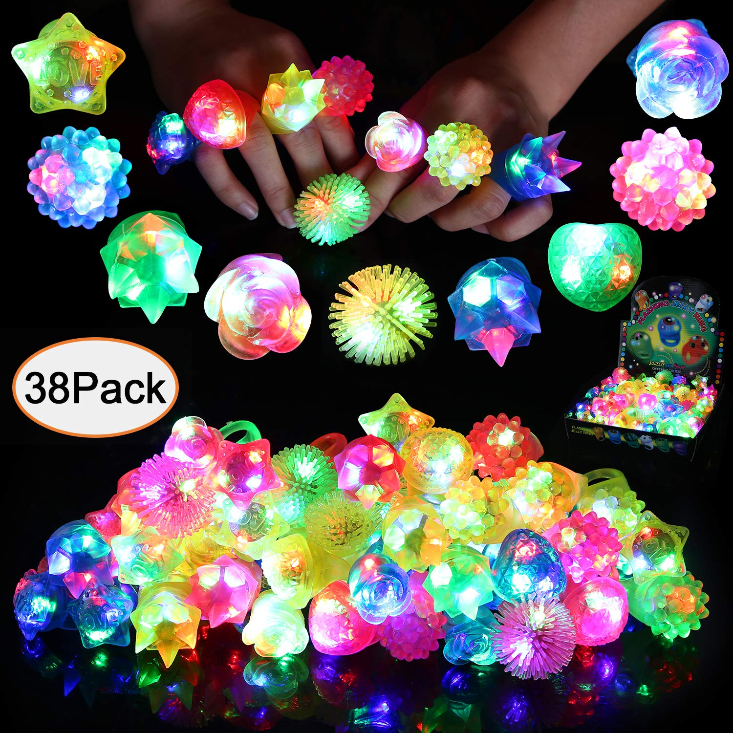 Neovoo Prizes for Kids Party Favors 38 Pack FlashingLED Light Up Rings Classroom Prizes Glow in The Dark Party Supplies Jelly Novelty Play Rings Bulk Toys Birthday Celebration Gifts by Neovoo
