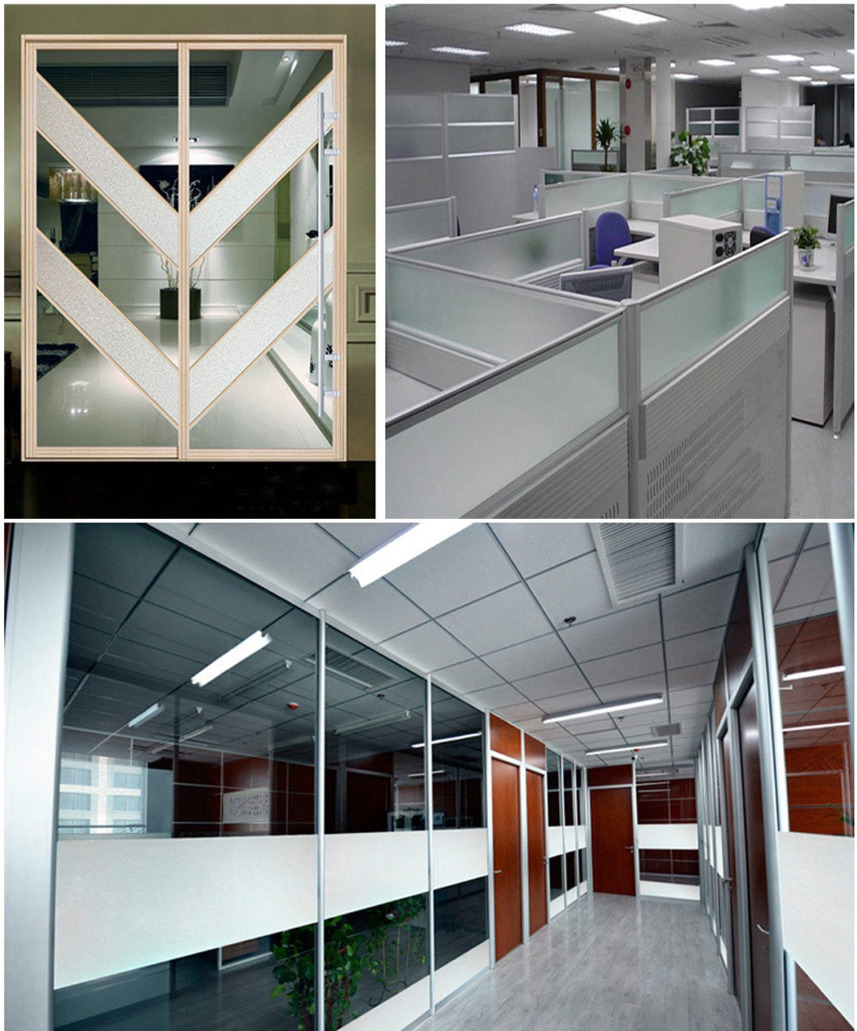 White Window Clings Privacy Window Tint Patio Door Plastic Film For