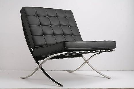 Ludwig Mies ven der Rohe Barcelona Pavilion silla negro piel ...