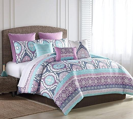 SL Home Fashions 8 Piece Raquel Turquoise/Purple Comforter Set King