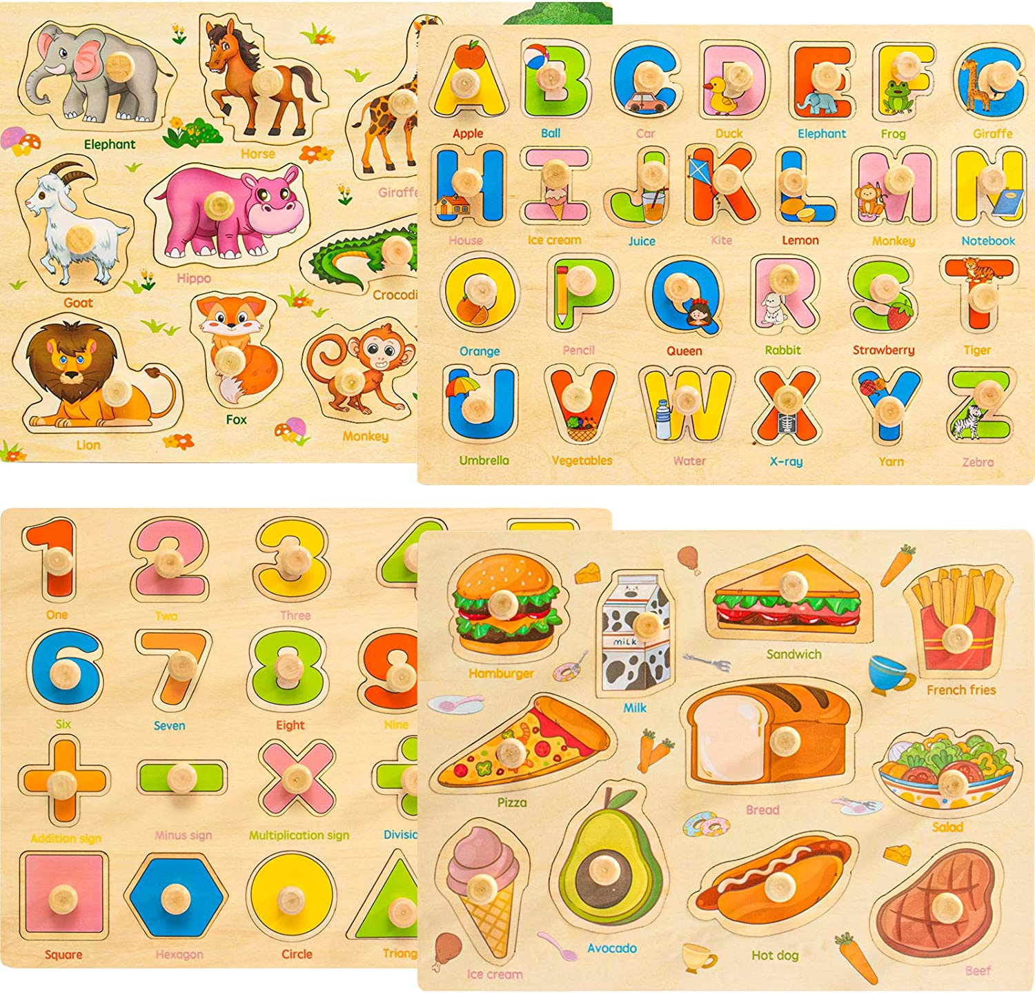 Familamb Toddler Puzzles, Wooden Peg Puzzles for Kids 2 3 4 Years Old, Alphabet Number Animal Food Puzzles with Knob, Preschool Learning Puzzles Toys for Baby Infants Boys and Girls (4 Pack)