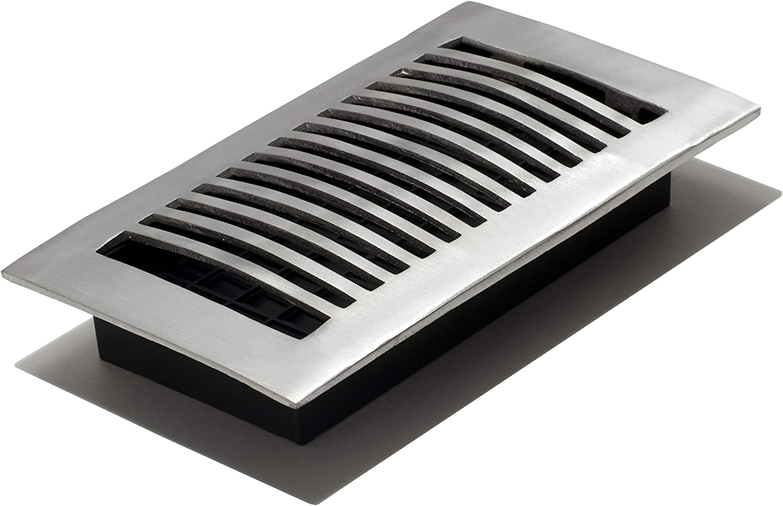 Decor Grates LA408-NKL Floor Register, 4-Inch by 8-Inch, Nickel