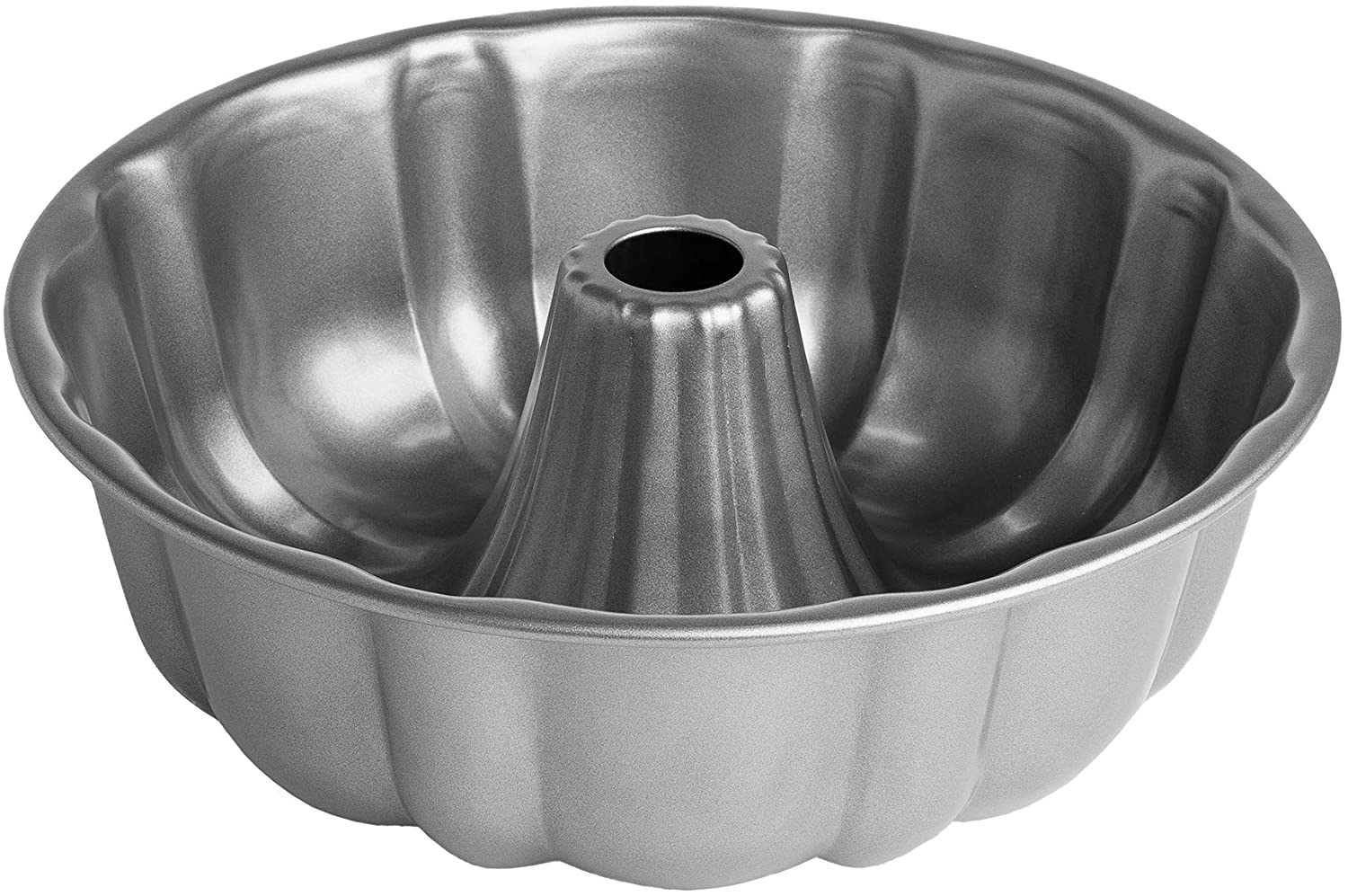 Cooking Light Fluted Tube Cake Pan Non-Stick, Quick Release, Carbon Steel Bakeware, 9 Inch, Gray