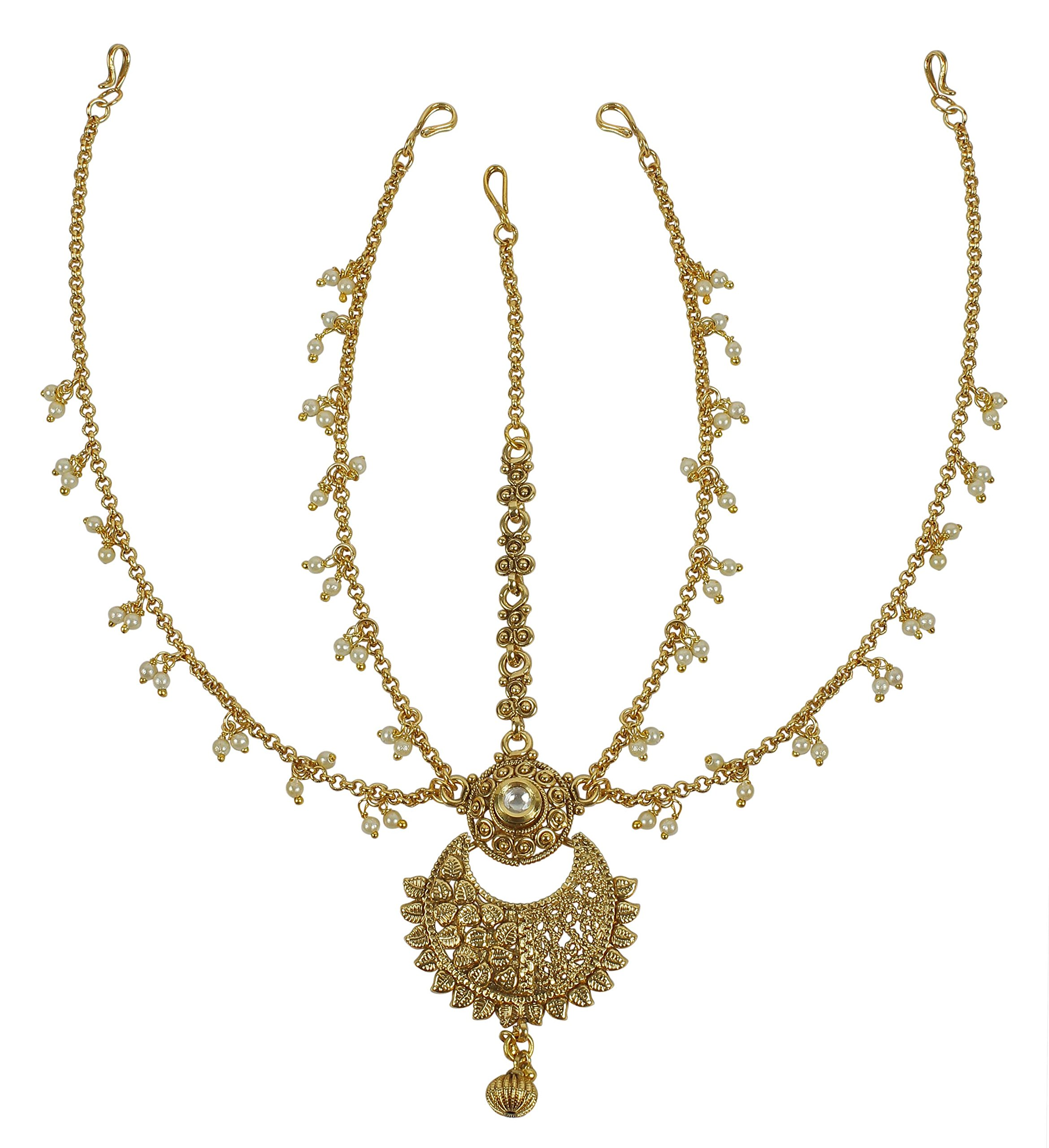 MUCH-MORE Beautiful Style Stunning Gold Plated Indian Matha Patti Head Partywear Jewelry for Women (49)