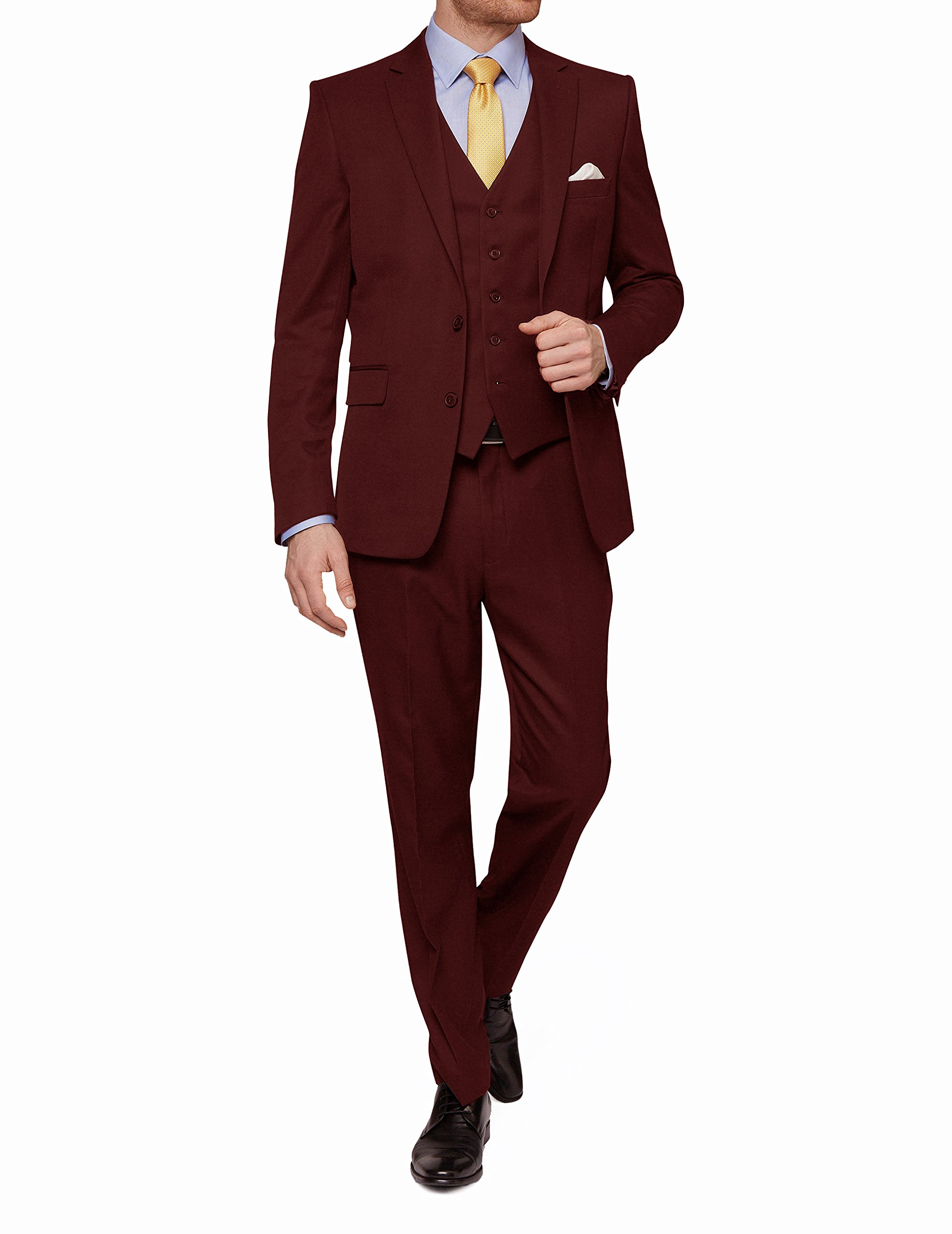 MDRN Uomo Mens Slim Fit 3 Piece Suit, Burgundy, Size 44Sx38W