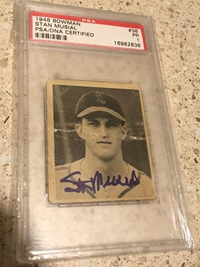 Amazoncom Stan Musial Cardinals 1948 Bowman 36 Rc Signed
