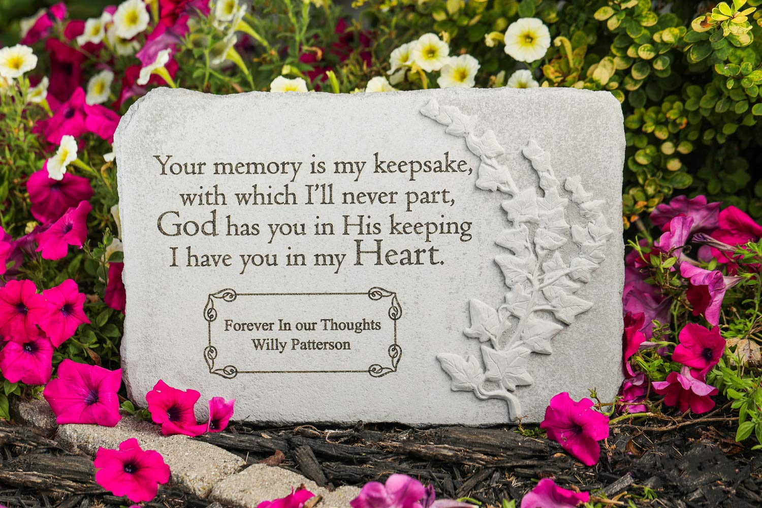 Kay Berry Inc Your Memory is My Keepsake. 15'' x 10'' Rectangle - Personalized Memorial Stone - Fused Glass Stone by Kay Berry Inc (Image #1)