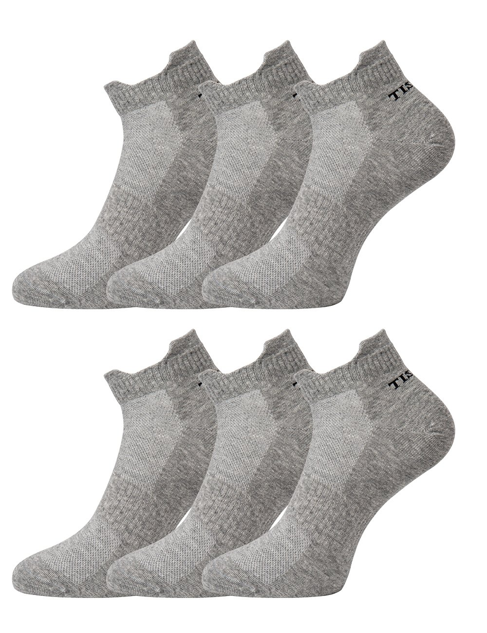 Tisoks 6 Pairs Grey Mens and Womens Titanium Anti Odor Antifungal Sports Ankle Socks Antibacterial for Athletes Feet by Tisoks
