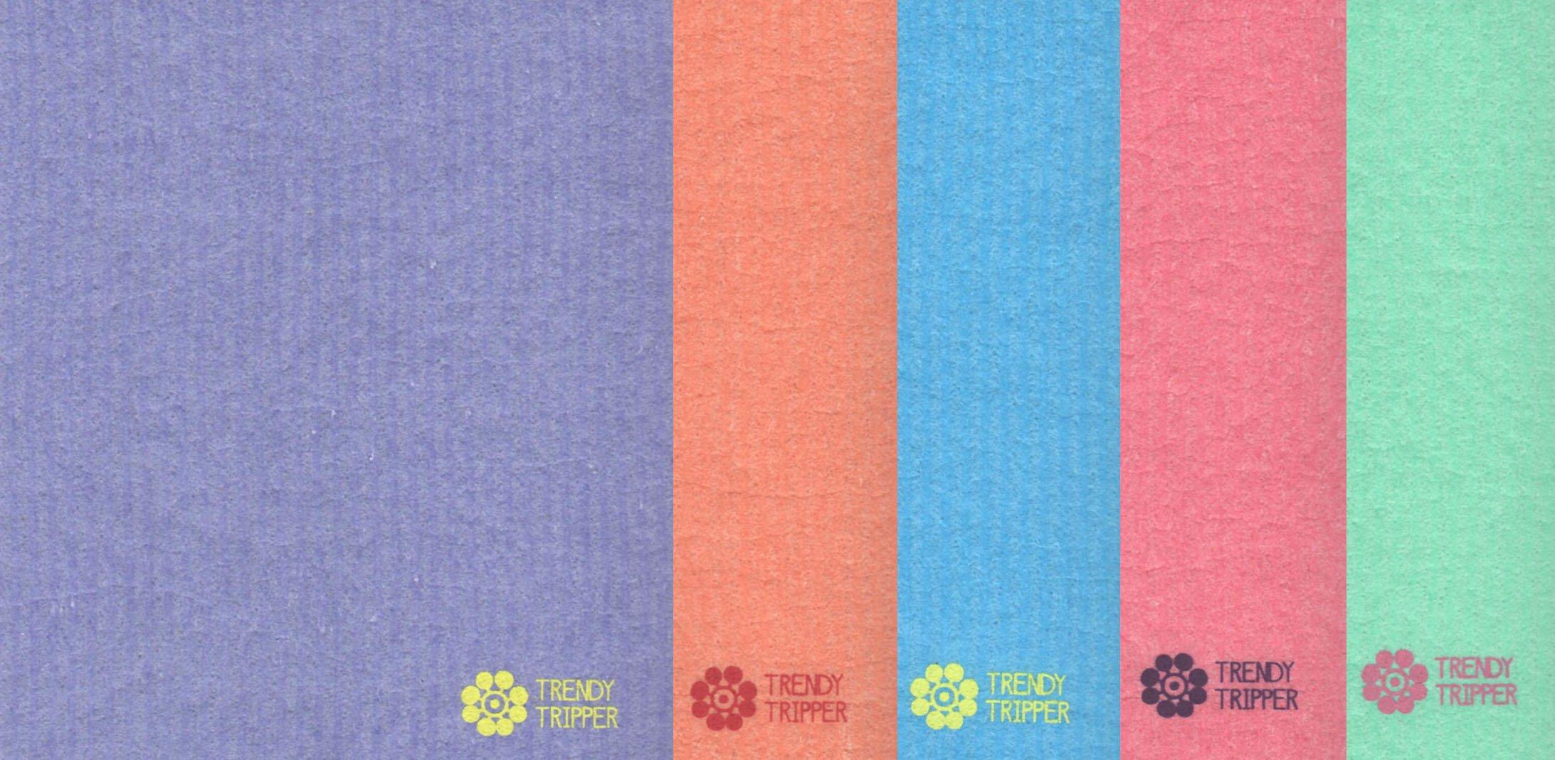 Swedish Dishcloths, Reusable Set of 5 Mixed Solid Colors (FIVE)