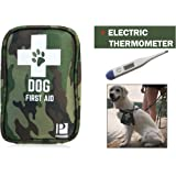Dog First Aid Kit with Thermometer and Emergency Blanket - Puppy Kit - Pet Safety Supplies for Camping, Walks, Cycling, Car, Hikes - Treat cuts and scrapes - Top Rated
