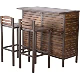 Christopher Knight Home Leni Indoor Acacia Bar Set with Rustic Metal Finish Accents, Dark Brown / Rustic Metal