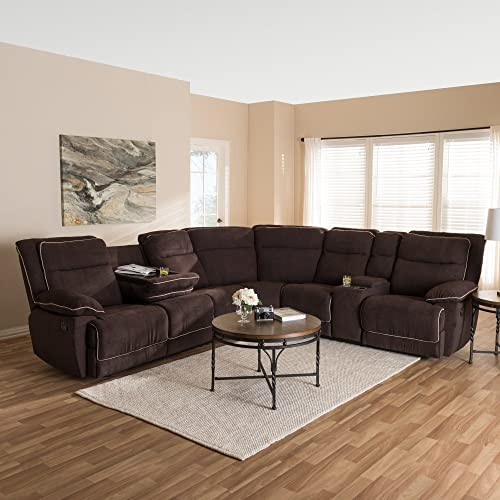 Baxton Studio Sabella Modern and Contemporary Taupe Fabric Upholstered 7-Piece Reclining Sectional