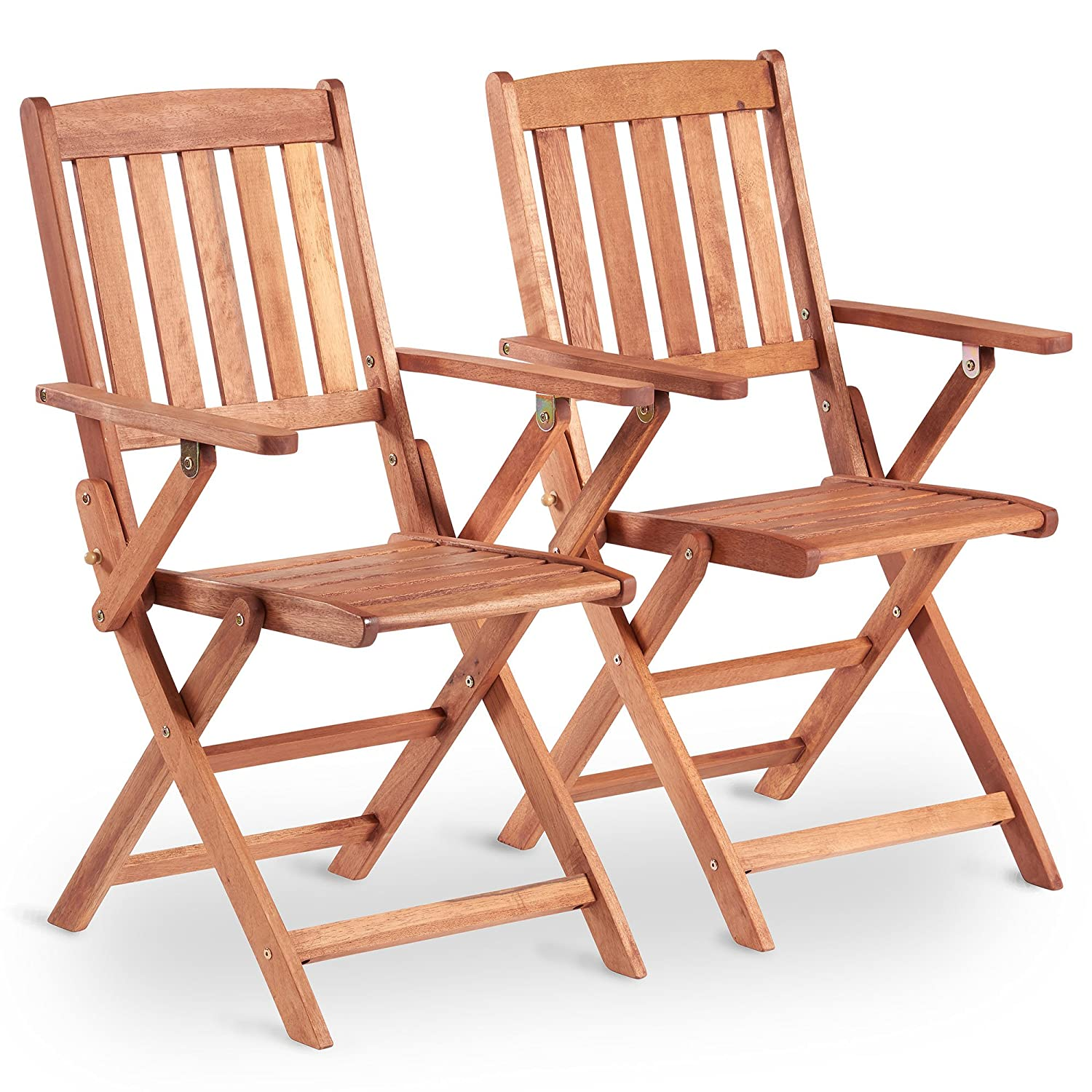VonHaus 2 Pack Wooden Folding Chairs Set of 2 Armchairs Made