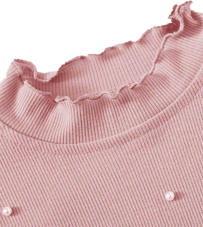 Romwe Womens Rib Knit Pearls Beaded Short Sleeve Lettuce Trim Mock Neck Crop Tee Tops Blouse