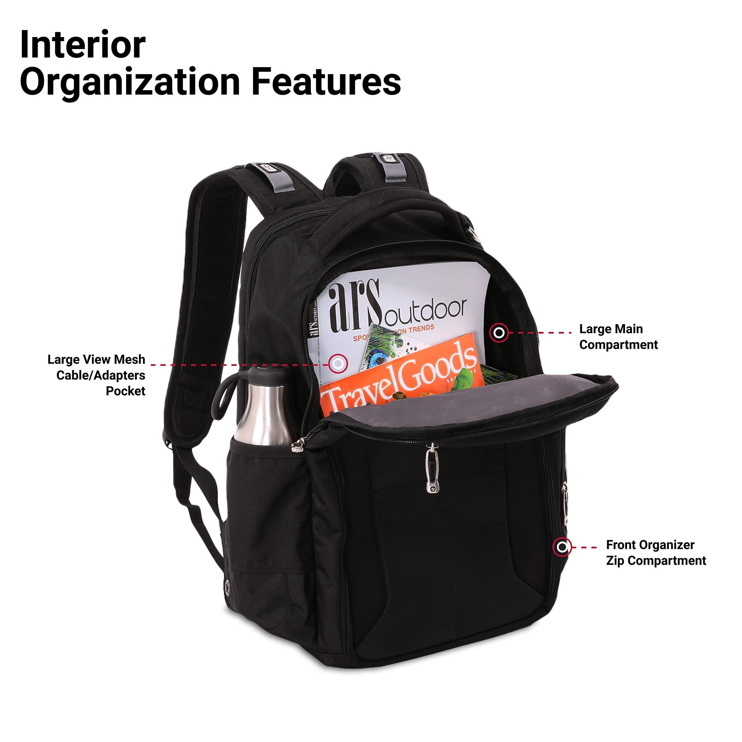 SWISSGEAR Large ScanSmart 15-inch Laptop Backpack   TSA-Friendly Carry-on   Travel, Work, School   Men's and Women's - Black by SwissGear (Image #4)