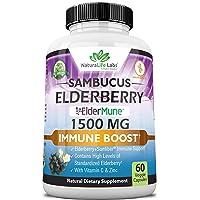 Sambucus Elderberry 1,500 mg with Vitamin C & Zinc - ElderMune Super Concentrated 65:1 Sambucus Extract Immune Support   Non-GMO   60 Veggie Capsules