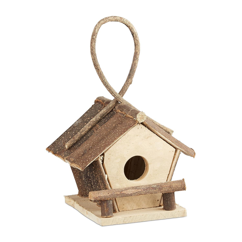 Relaxdays 10021106 Casetta per Uccelli Decorativa con Gancio Piccolo Nido Uccellini Legno non Trattato, Fatta a Mano Naturale  Fatta a Mano Naturale