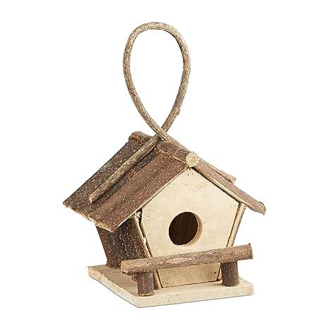 Relaxdays 10021106 Casetta Per Uccelli Decorativa Con Gancio Piccolo