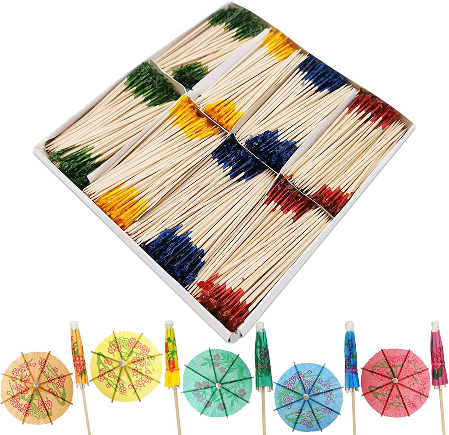 BLUE TOP Frill Picks Toothpicks 4 Inch Pack 1000,with 5 Umbrella Picks.