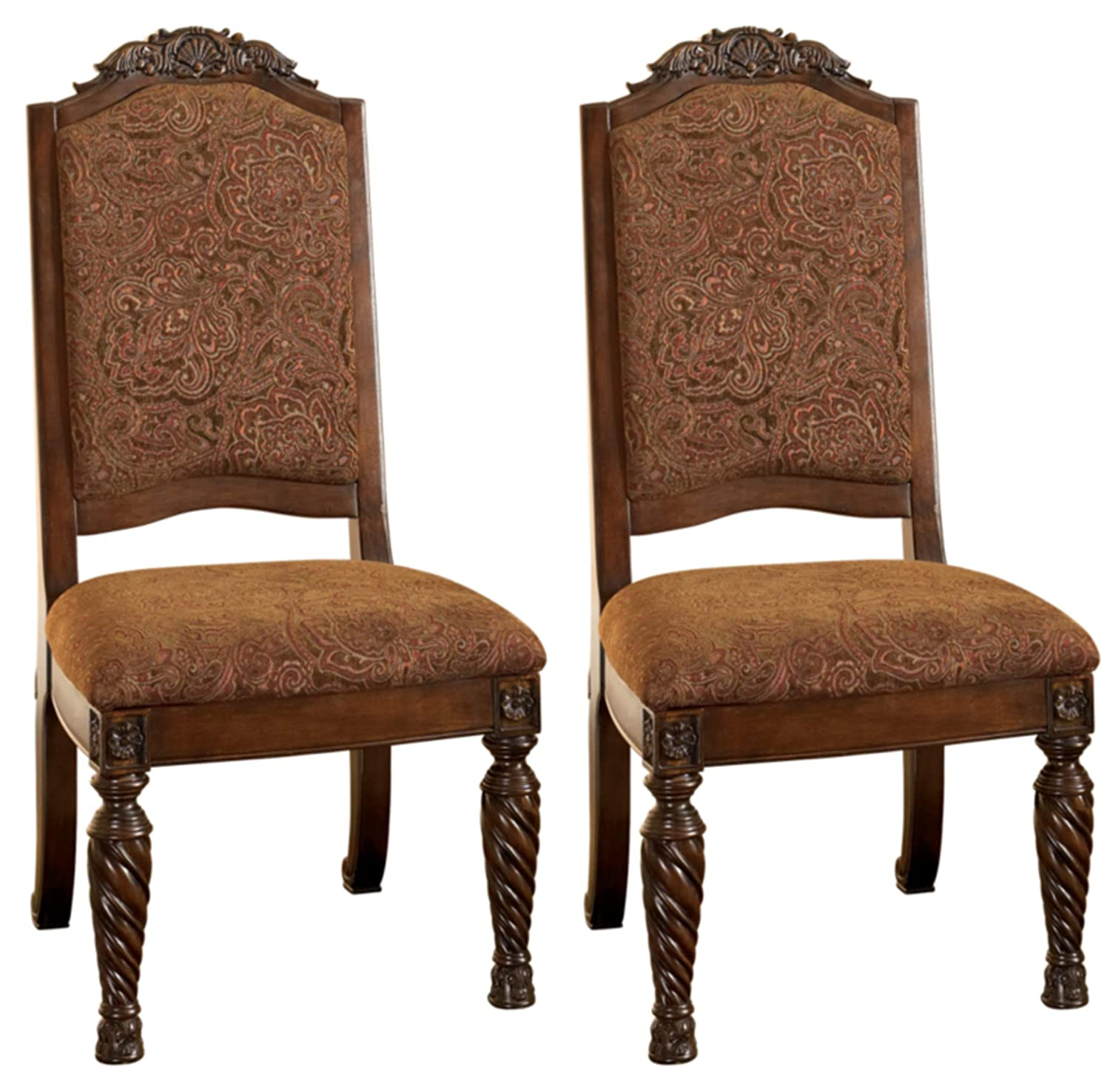 Signature Design By Ashley - North Shore Dining Upholstered Side Chair - Set of 2 - Traditional Style - Dark Brown