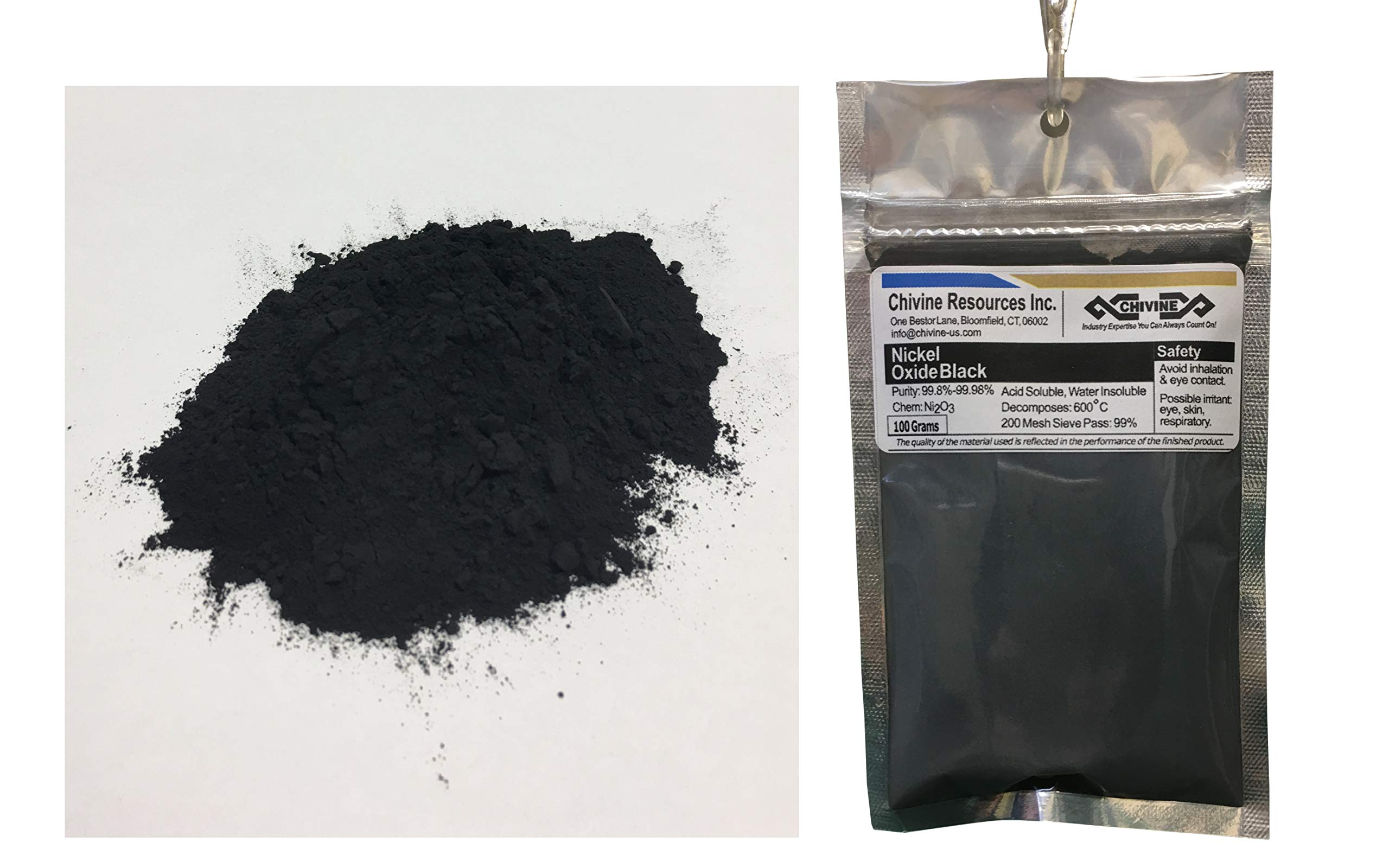 Nickel Oxide Black, Powder 1lb (454G), 99.8%-99.98% Purity by Chivine Resources Inc