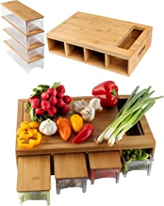 Large bamboo cutting board with trays/drawers and bamboo lids, Chopping board with juice grooves, handles & food sliding opening, cutting board with trays for easy food prep and cleanup