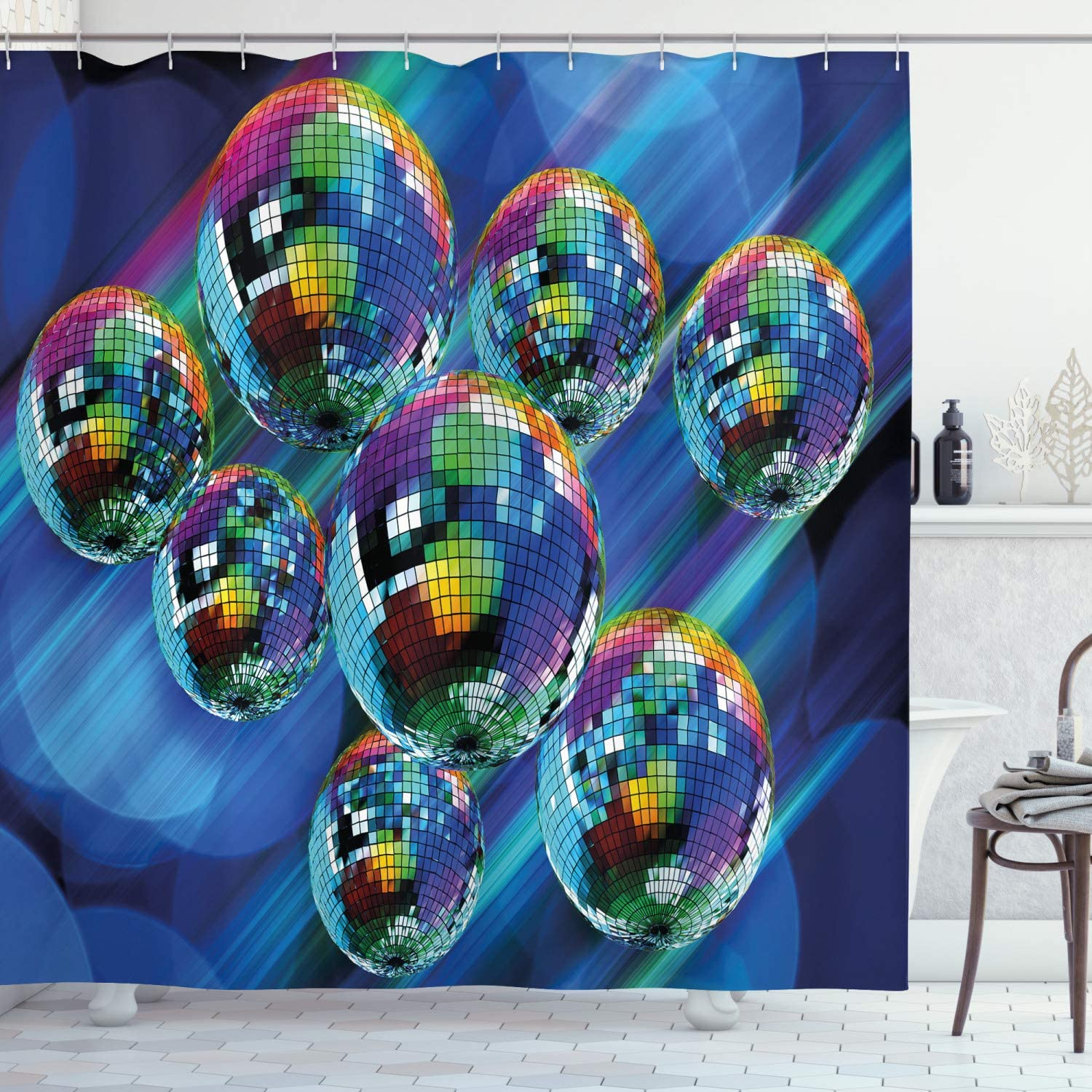 "Ambesonne 70s Party Shower Curtain, Colorful and Funky Vibrant Disco Balls in Abstract Night Club Dancing Theme Art, Cloth Fabric Bathroom Decor Set with Hooks, 70"" Long, Indigo"