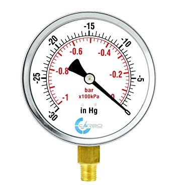 CARBO Instruments 4 Pressure Gauge Chrome Plated Steel Case 0-15 psi//kPa Lower Mount 1//4 NPT Dry