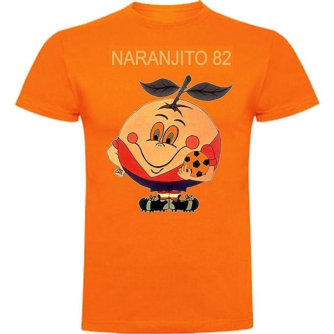 The Fan Tee Camiseta de Hombre Divertidas Naranjito 82 Mundial ESPAÑA Futbol Deporte Retro: Amazon.es: Ropa y accesorios