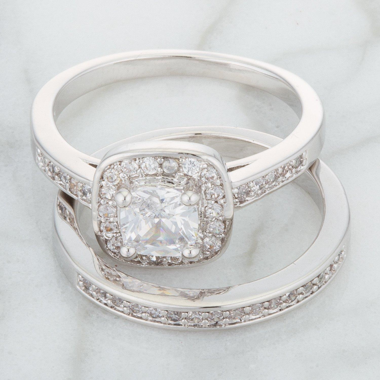 Genuine Rhodium Plated Cushion Cut Clear Cubic Zirconia Solitaire Wedding Ring Set