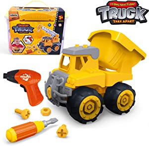 Take Apart Toys with Electric Drill | Toddler DIY Assembly Construction Truck | Building Toys Gifts for Boys & Girls Age 3yr-6yr | Kids Stem Building Toy Age 4,5 (Dump Truck)