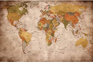 GREAT ART Photo Wallpaper – Retro World Map Used Look – Picture Decoration Atlas Globe Continents Earth Geography Old School Vintage Card Image Decor Wall Mural (82.7x55.1in - 210x140cm)
