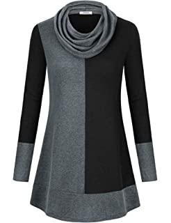 317a36e3d Youtalia Women's Hoodie Sweatshirt Long Sleeve Cowl Neck Pullover Color  Block Thin Tunic Top