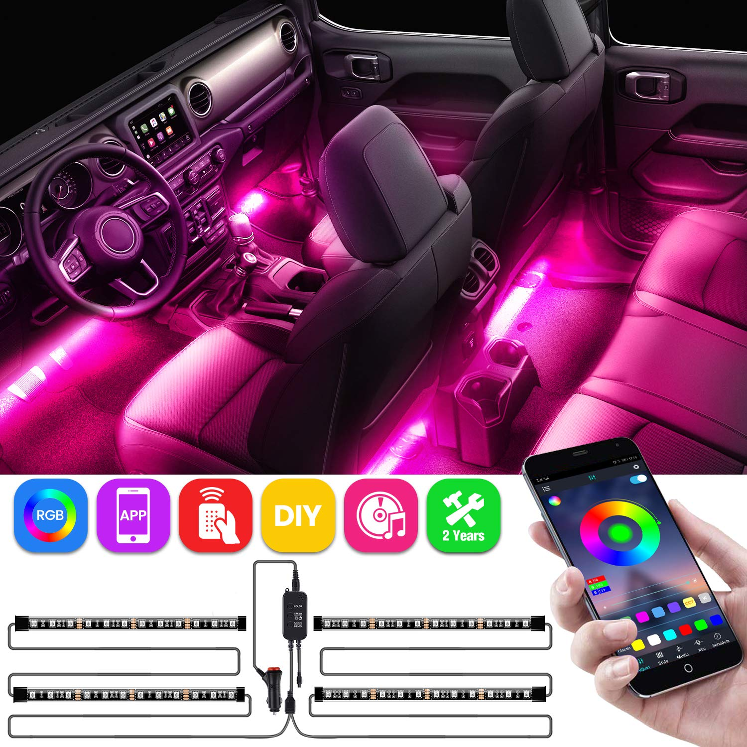 AMBOTHER Car Interior Lights, LED Strip RGB APP IR Controller Two-Line Design 4PCS 48 LED DIY Multicolor Music Under Dash Waterproof Lighting Kits, Car Charger Included, DC 12V