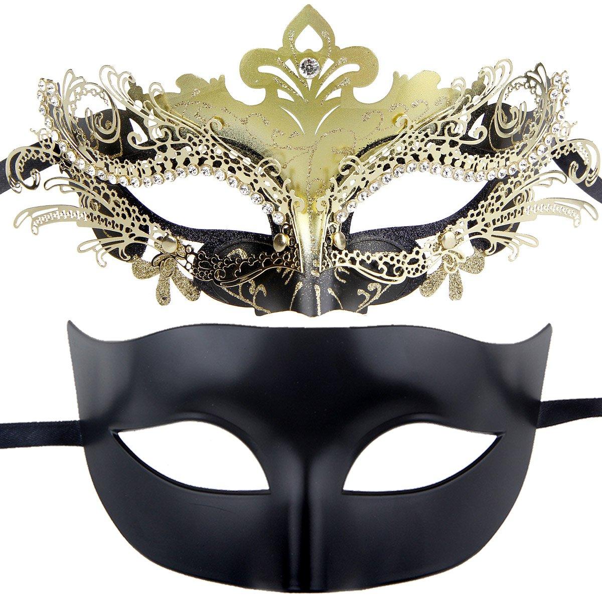 IETANG Couples Pair Half Venetian Masquerade Ball Mask Set Party Costume Accessory (Gold&Black)