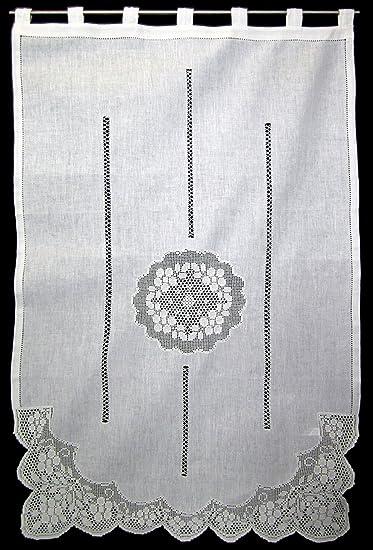 Lato sciarpa, Tenda, tende, con medaglione all\' uncinetto e pizzo di ...