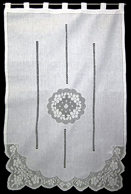 Lato sciarpa, Tenda, tende, con medaglione all\' uncinetto e pizzo ...