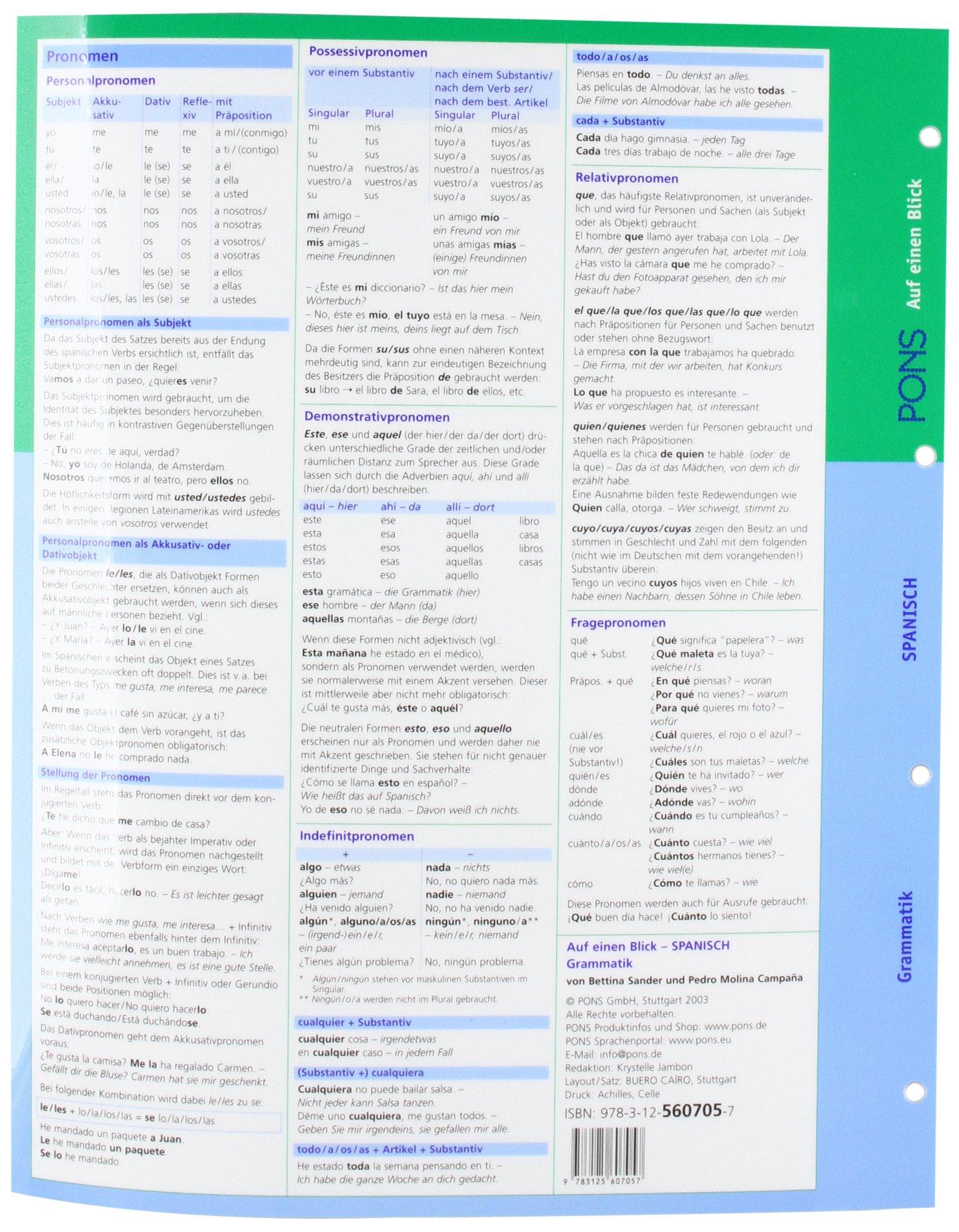 PONS Grammatik auf einen Blick. Spanisch: 9783125607057: Amazon.com: Books