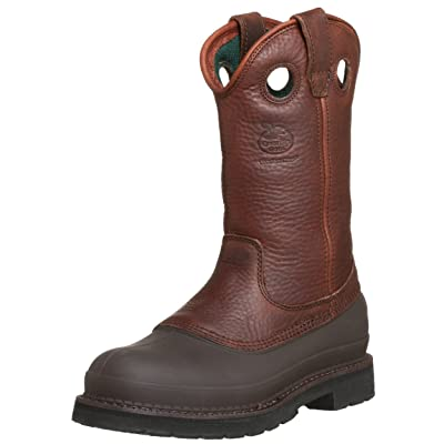 Georgia Men's Pull-On Mud Dog Steel Toe Comfort Core Work Boot, Brown | Industrial & Construction Boots