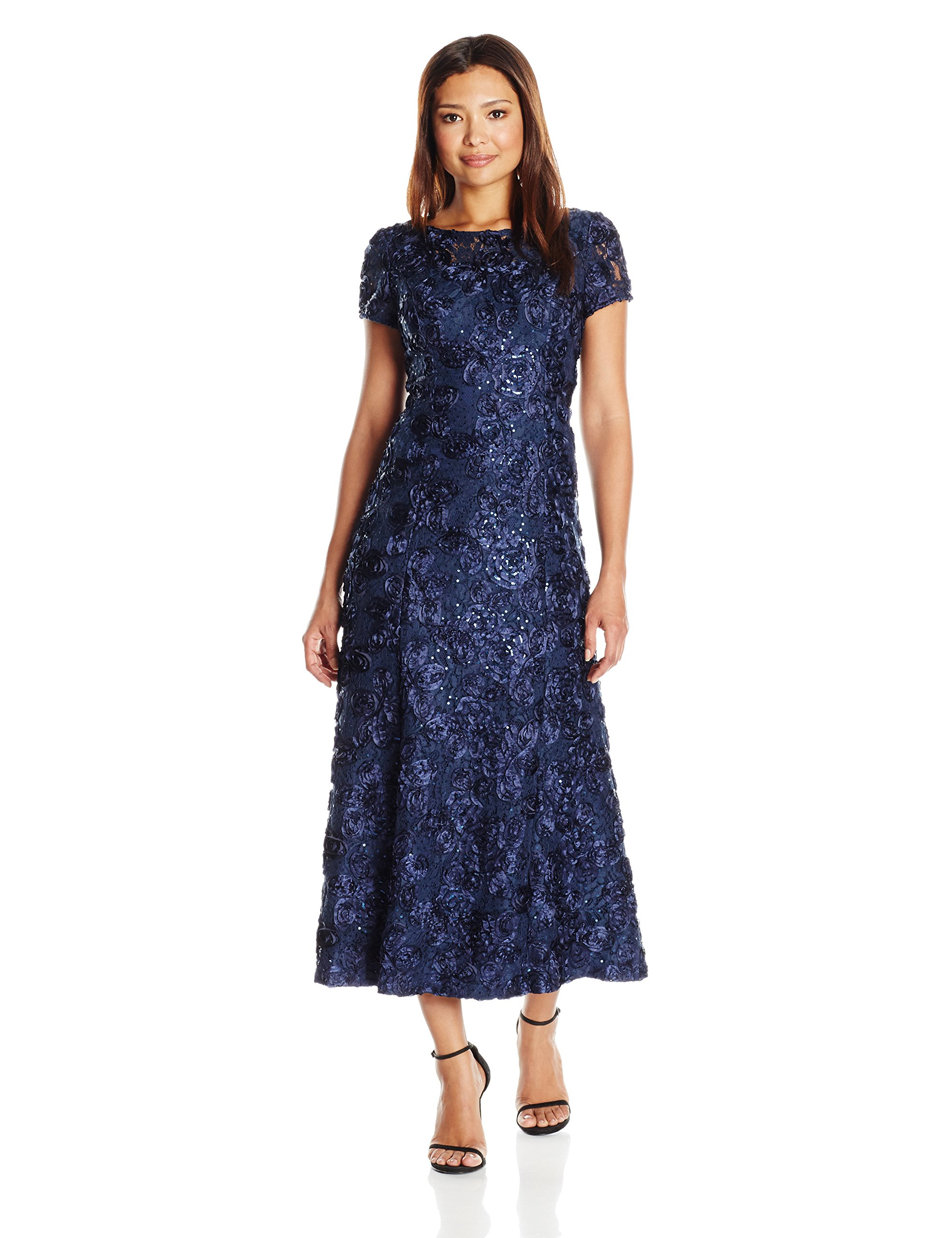 Alex Evenings Women's Petite Long a-Line Rosette Dress, Navy, 6P