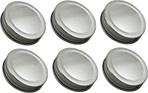 Sunshine Mason Co. One Piece Mason Jar Lids 6 Pieces, Silver