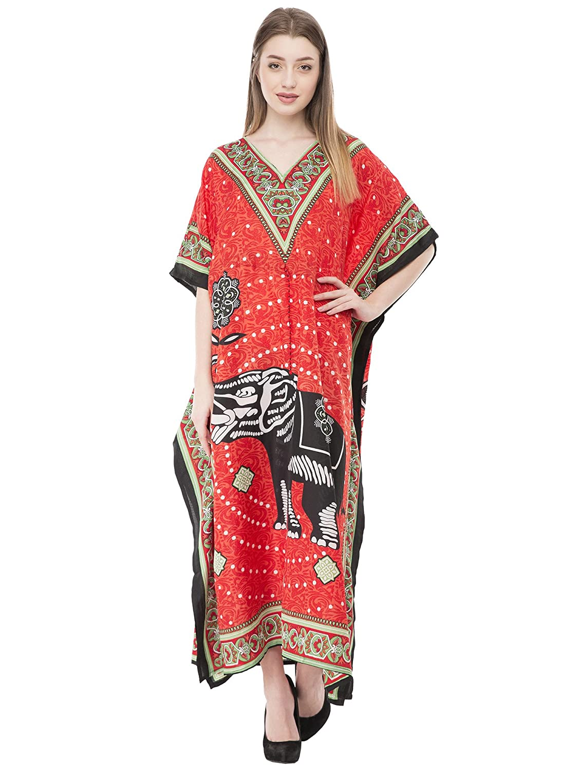 SKAVIJ Long Caftan Tunic Dress Maxi Kaftan Plus Size Cover Up Dresses for Women CL_006_blue
